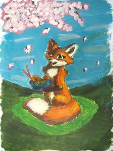A Fox Under the Cherry Tree