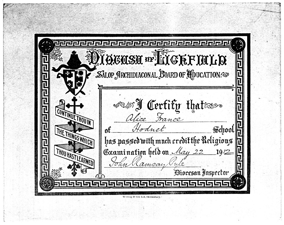 Certificate Diocese Of Lichfield